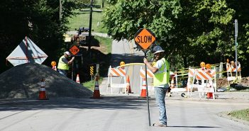 wide shot of construction on the talmage avenue dip