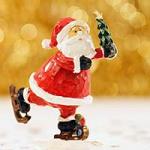 wooden santa clause skating