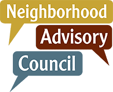 logo: three various color speech bubbles with the words, Neighborhood Advisory Council