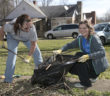 Two women doing yard work