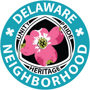delaware neighborhood text encircling pink dogwood blossom