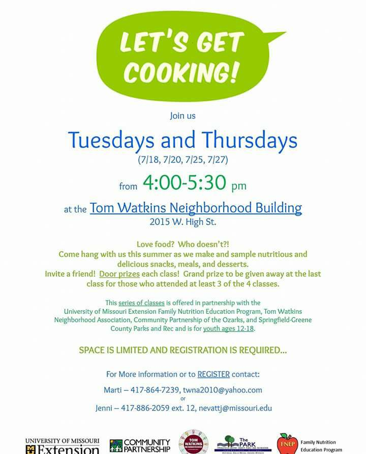 Cooking Club for Teens @ Tom Watkins Neighborhood Building | Springfield | Missouri | United States