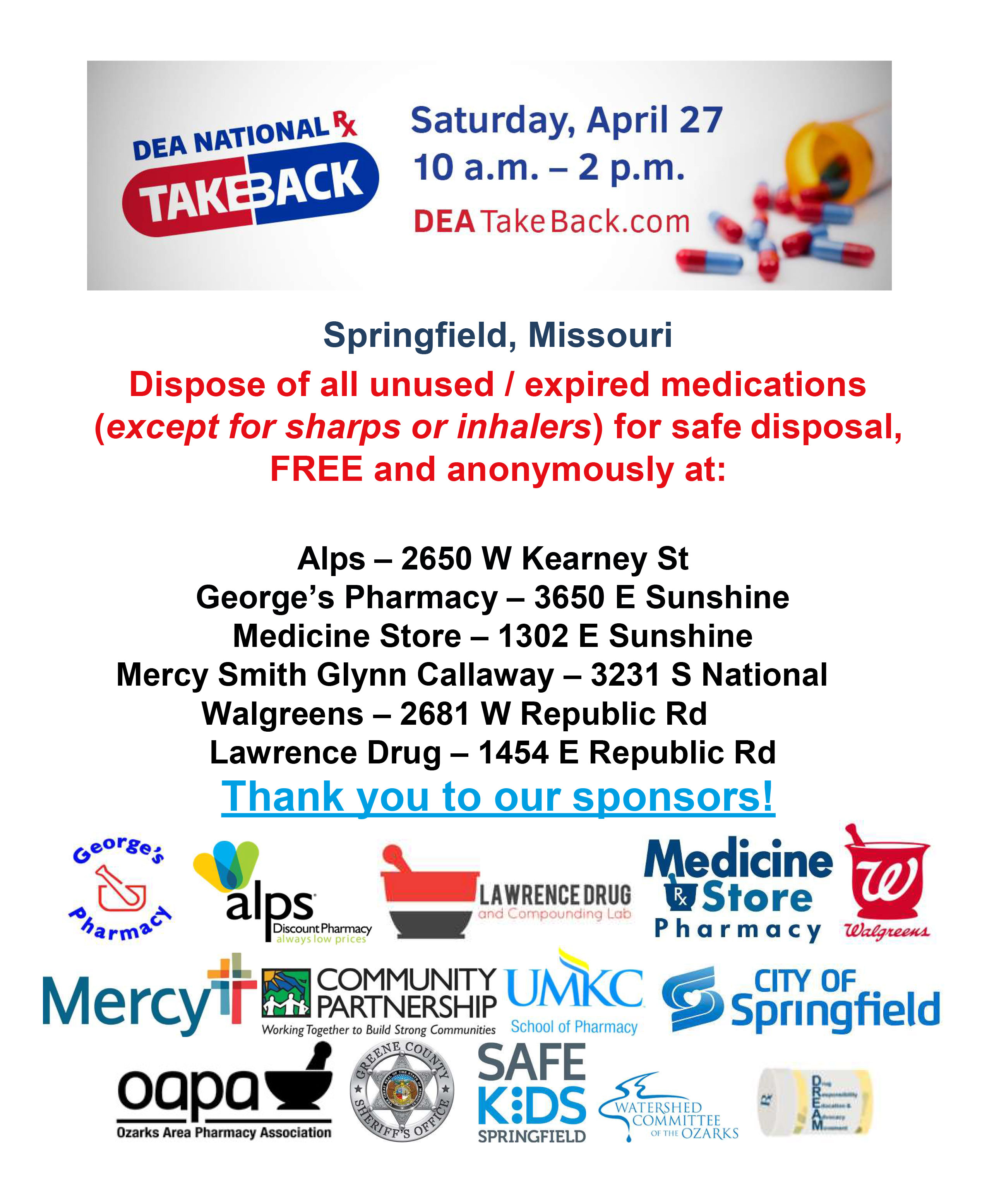 Medication Take Back Event @ Various pharmacies in Springfield