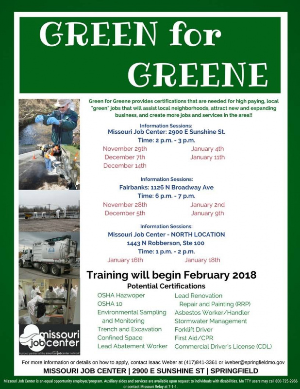 Green for Greene Program Info Sessions @ Missouri Job Center | Springfield | Missouri | United States
